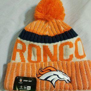 Orange Denver Broncos Hat with Pom Pom NWT